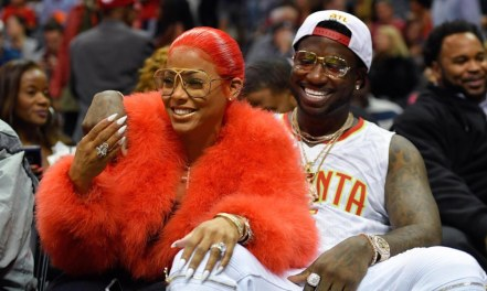 Nov 22, 2016; Atlanta, GA, USA; Recording artist Gucci Mane reacts with Keshia Kaoir after being engaged during a time out during the New Orleans Pelicans and Atlanta Hawks game during the second half at Philips Arena. The Pelicans defeated the Hawks 112-96.Mandatory Credit: Dale Zanine-USA TODAY Sports ORG XMIT: USATSI-323774 ORIG FILE ID: 20161122_sal_sz2_110.JPG